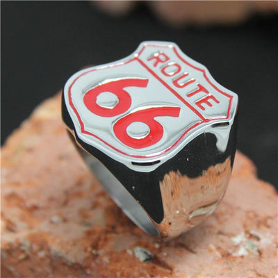 Hot 316L Stainless Steel Red Polishing Biker 66 Ring Mens Motorcycle Biker ROUTE 66 Band Party Ring Cool - Mirage Novelty World