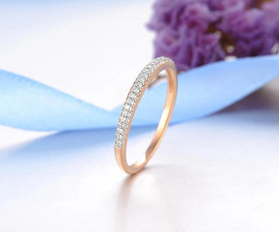 Genuine 14K 585 Rose Gold Sparkling Diamond Delicate Ring For Women Anniversary Engagement Fashion Trendy Fine Jewelry - Mirage Novelty World