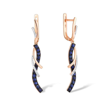 Gold Earrings For Women Authentic 14K 585 Rose Gold Sparkling Diamond Shiny Blue Sapphire Dangling Earrings Fine Jewelry - Mirage Novelty World