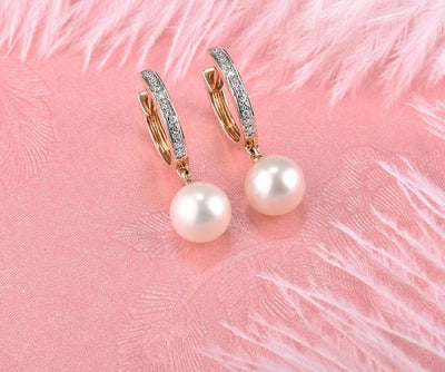 Pure 14K 585 Rose Gold Sparkling Diamond Elegant Fresh Water Pearl Earrings For Women Unique Trendy Wedding Fine Jewelry - Mirage Novelty World