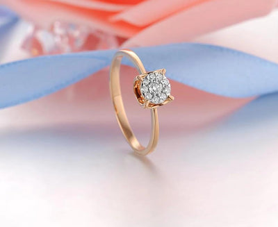 Pure 14K 585 Rose Gold Sparkling Diamond Delicate Round Cirle Ring For Women Engagement Anniversary Trendy Fine Jewelry - Mirage Novelty World
