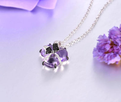Pure14K 585 White Gold Pendant For Women limpid Amethyst Shiny White and Black Diamond Pendant Anniversary Fine Jewelry - Mirage Novelty World