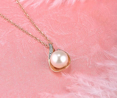 Gold Pendant For Women Pure 14K 585 Rose Gold Sparkling Diamond Elegant Fresh Water Pearl Pendant For Lady Fine Jewelry - Mirage Novelty World