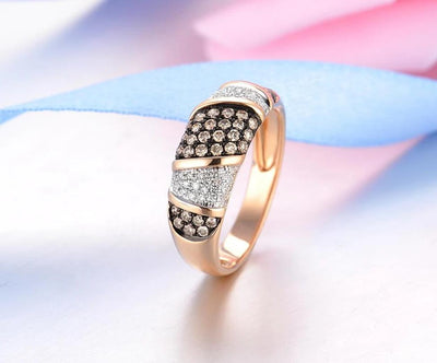 Pure 14K 585 Rose Gold Starry Diamond Brown Diamond Delicate Ring For Women Anniversary Engagement Trendy Fine Jewelry - Mirage Novelty World