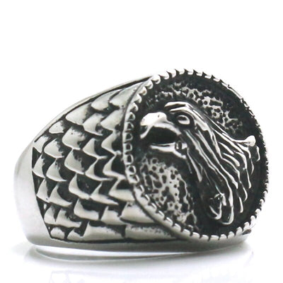 316L Stainless Steel Cool Silver Classic Eagle Biker Ring Newest - Mirage Novelty World