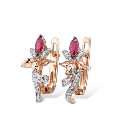 Pure 14K 585 Rose Gold Earrings For Women Glamorous Elegant Classic Ruby Sparkling Diamond Glamorous Trendy Fine Jewelry - Mirage Novelty World