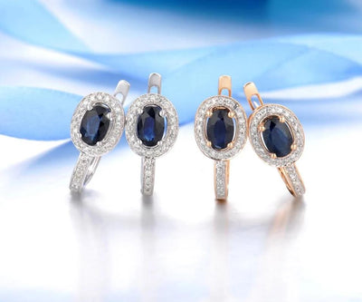 Gold Earrings For Women Genuine 14K 585 White/Rose Gold Sparkling Diamond Blue Sapphire Gorgeous Earrings Fine Jewelry - Mirage Novelty World