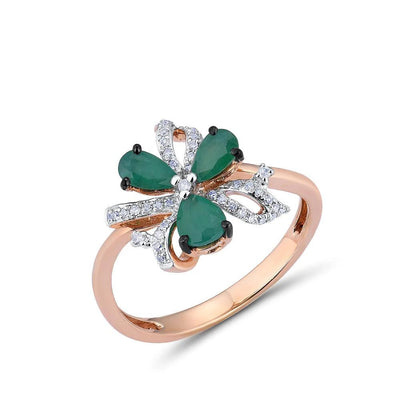14K 585 Rose Gold Ring For Women Magic Emerald Sparkling Diamond Engagement Anniversary Elegant Shining Fine Jewelry - Mirage Novelty World