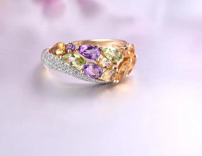 Genuine 14K 585 Yellow Gold Sparkling Diamond Fancy Citrine Amethyst Peridot Lady Ring Anniversary Chic Fine Jewelry - Mirage Novelty World