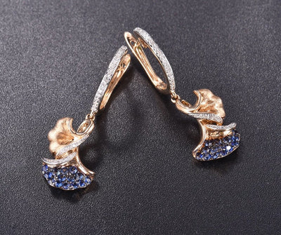 14K 585 Yellow Gold Earrings For Women Sparkling Diamond Emerald Blue Sapphire Leaves Drop Earrings Elegant Fine Jewelry - Mirage Novelty World