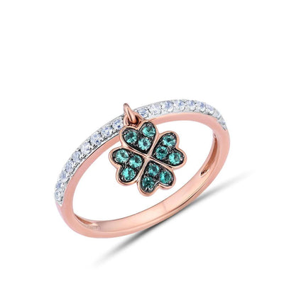 Genuine 10K Rose Gold Created Emerald&WhiteSapphire Clover Ring For Lady Engagement Anniversary Lovely Chic Fine Jewelry - Mirage Novelty World