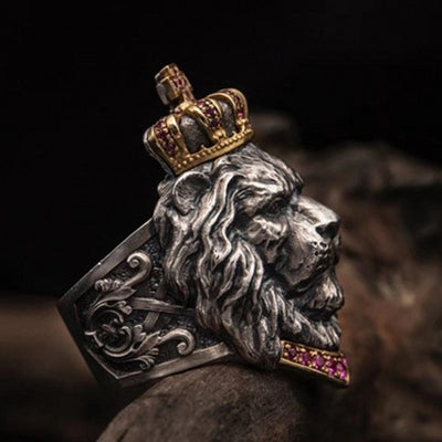 vintage crown lion ring men cross male lion head ring domineering man's ring - Mirage Novelty World