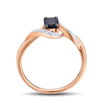 Gold Rings For Women Genuine 14K 585 Rose Gold Ring Sparkling Diamond Oval Blue Sapphire Luxury Trendy Chic Fine Jewelry - Mirage Novelty World