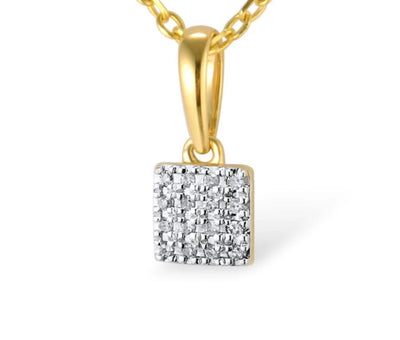 Gold Pendants For Women Authentic 14K 585 Rose White Gold Sparkling Diamond Simple Square Pendant Wedding Fine Jewelry - Mirage Novelty World