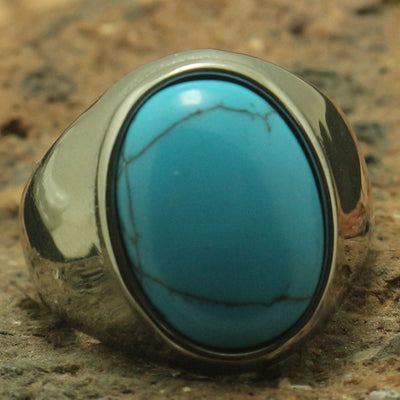 Cool Big Blue Stone Ring 316L Stainless Steel Silver or Black Rock Party Best Gift - Mirage Novelty World