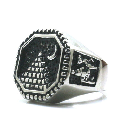 Mens 316L Stainless Steel Cool Moon Pyramid Newest Vintage Ring - Mirage Novelty World
