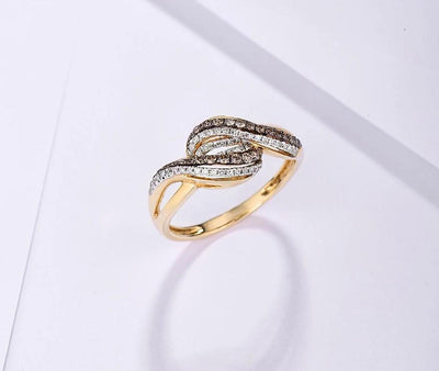 Gold Rings For Lady Genuine 14K 585 Yellow Gold Ring Sparkling White & Brown Diamond Engagement Anniversary Fine Jewelry - Mirage Novelty World