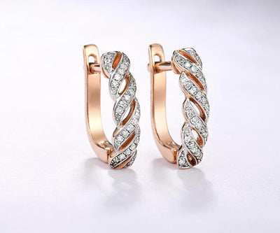 Gold Earrings For Lady 14K 585 Rose Gold Sparkling Luxury Eternal Diamond Earrings Wedding Band Anniversary Fine Jewelry - Mirage Novelty World