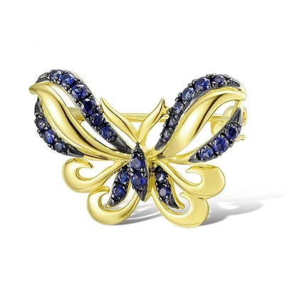 Gold Brooch for Women Authentic 14K 585 White Rose Yellow Gold Butterfly Brooch Emerald Ruby Blue Sapphire Fine Jewelry - Mirage Novelty World