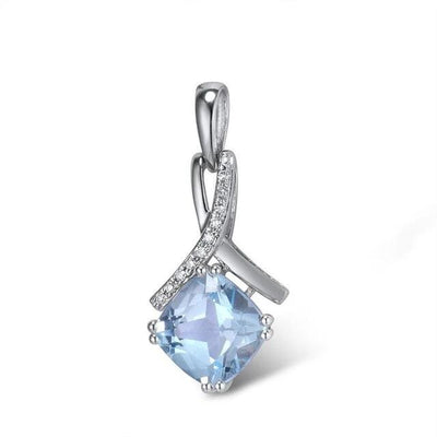 Gold Pendant For Women Genuine 14K 585 White Gold Radiant Sky Blue Topaz Sparkling Diamond Pendant Delicate Fine Jewelry - Mirage Novelty World
