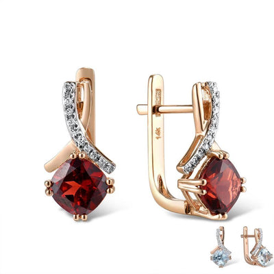 Gold Earring For Women Genuine 14K 585 Rose Gold Radiant Garnet Sparkling Diamond Earring Engagement  Wedding Jewelry - Mirage Novelty World