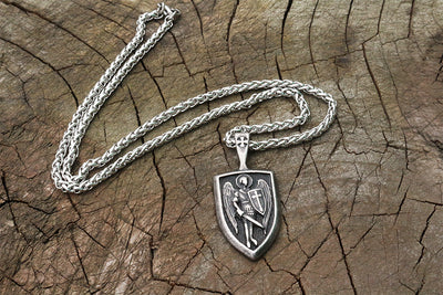 316 stainless steel men necklace Archangel St.Michael Protect Me Saint Shield Protection pendant jewelry - Mirage Novelty World
