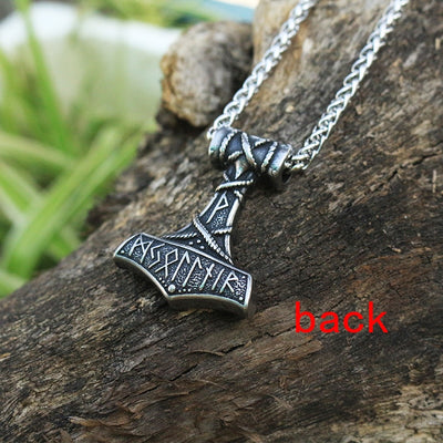 men stainless steel Thor's Hammer pendant viking rune necklace Huge Thor Mjolnir Amulet Scandinavian Pendant norse jewelry - Mirage Novelty World
