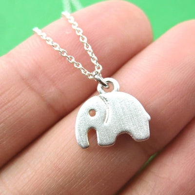 tiny cute Elephant Silhouette Shaped Pendant  women Necklace Handmade Animal  Jewelry - Mirage Novelty World
