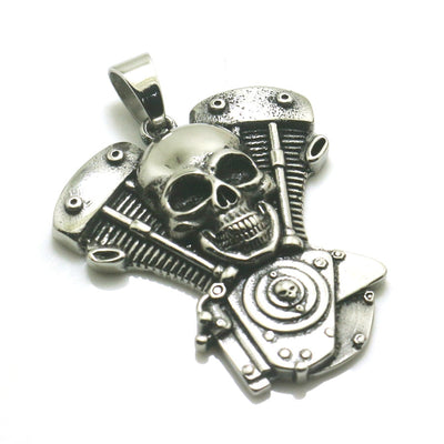 316L Stainless Steel Silver Big Engine Motorcycle Biker Skull Pendant - Mirage Novelty World
