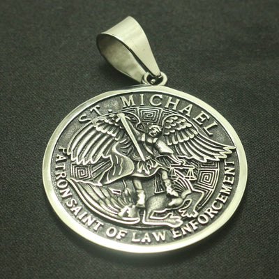 Cool 316L Stainless Steel Star Big SAINT MICHAEL PROTECT US Silver Round Medal Pendant - Mirage Novelty World