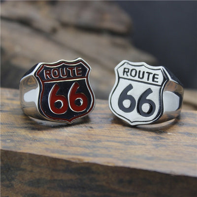 Cool 316L Stainless Steel Cool Black Red Route 66 American Style Biekr Ring - Mirage Novelty World