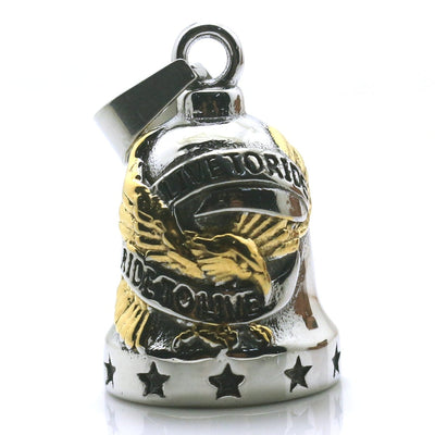 Unisex 316L Stainless Steel Cool Ride To Live, Live To Ride Cool Eagle Stars Biker Have Sound Ring Bell Pendant Gift - Mirage Novelty World