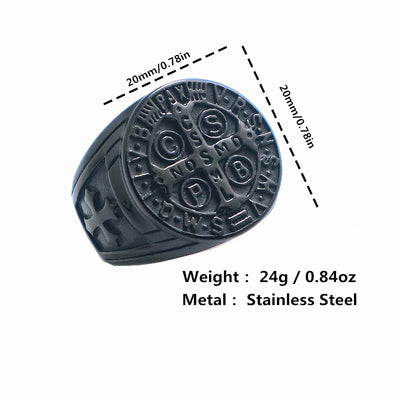Mens CSPB CSSML NDSMD Saint Benedict of Nursia 316L Stainless Steel Black Newest Ring - Mirage Novelty World