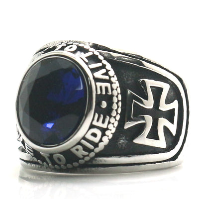Unisex 316L Stainless Steel Cool Cross Ride To Live, Live To Ride Blue Stone Classic Motorcycle Ring - Mirage Novelty World