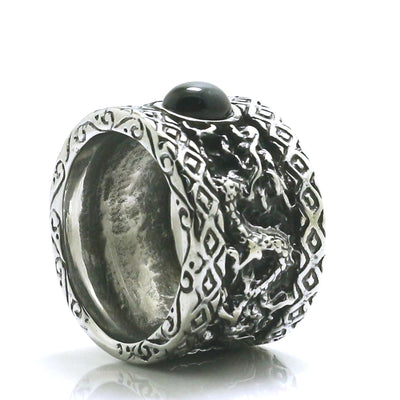Mens 316L Stainless Steel Punk Gothic Dragon Stone Two Dragons Play With The Ball Ring Newest - Mirage Novelty World