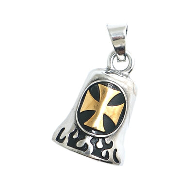 Mens 316L Stainless Steel Cool Cross Golden Flaming Biker Cross Bell Pendant Gift - Mirage Novelty World