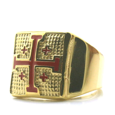Unisex 316L Stainless Steel The Orthodox Church Cross Golden Newest Ring - Mirage Novelty World