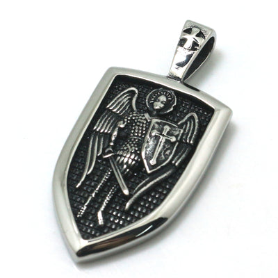 Unisex 316L Stainless Steel SAINT MICHAEL Archangel Newest Silver Shield Pendant - Mirage Novelty World