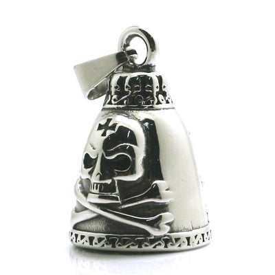 Mens Boys 316L Stainless Steel Cool Silver Pirate Cross Biker Two-sided Skull Bell Pendant For Gift - Mirage Novelty World