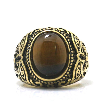 316L Stainless Steel Cool Punk Gothic Stone Flower Vintage Golden Silver Ring - Mirage Novelty World