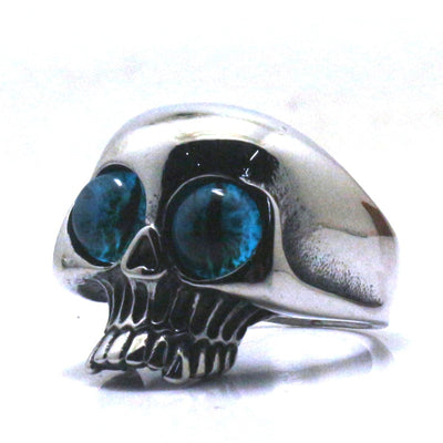 316L Stainless Steel Cool Blue Eye ball Hot Skull Ring Newest - Mirage Novelty World