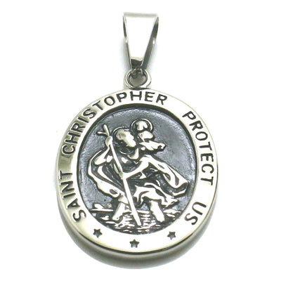 Saint Christopher Carrying the Christ Child Unisex 316L Stainless Steel Cool Saint Christopher Protect Us Silver Pendant - Mirage Novelty World