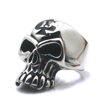 316L Stainless Steel Silver Number 13 Cool Skull Ring Newest - Mirage Novelty World