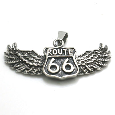 Mens Boys 316L Stainless Steel Cool Route 66 Biker Angle Wing Newest Pendant - Mirage Novelty World