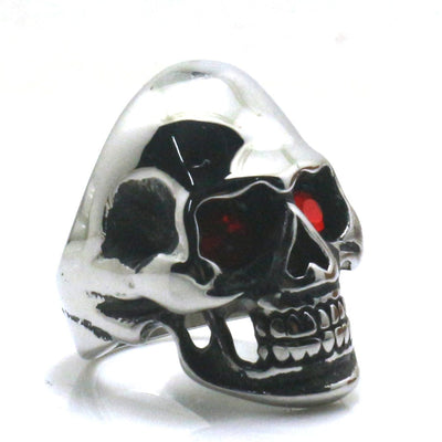 Mens Boys 316L Stainless Steel Rock Red Stone Eyes Skull Ring Newest - Mirage Novelty World