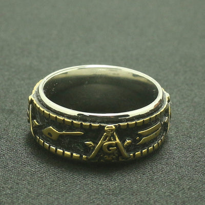 Mens Boys 316L Stainless Steel Golden & Silver Rotatable Freemasons Ring - Mirage Novelty World