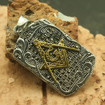 316L Stainless Steel Cool Black Stone Freemasons Cool Pendant - Mirage Novelty World