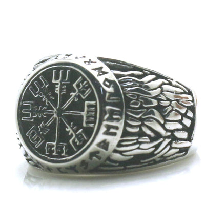 316L Stainless Steel Northern Europe Vikings Vintage Silver Ring - Mirage Novelty World