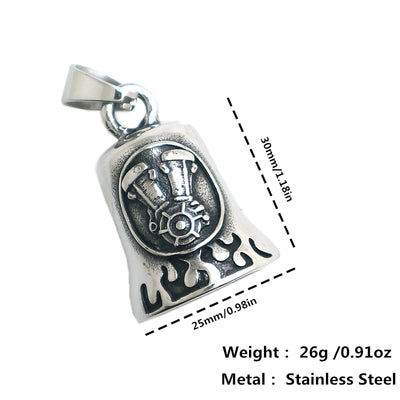 Mens Boys 316L Stainless Steel Cool Biker Flaming Engine Newest Pendant - Mirage Novelty World