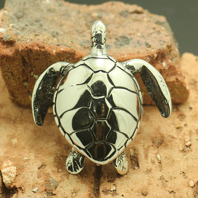 316L Stainless Steel Cool Silver Turtles Pendant - Mirage Novelty World